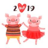 Lyckligt kort för nytt år 2019 Par av roliga spädgrisar gratulerar på ferien Svin i balettballerinakjol och galt i tröja royaltyfri illustrationer