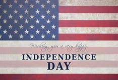 Lyckligt kort för självständighetsdagenUSA flagga arkivfoton