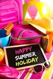 Lyckligt kort för sommarferier Arkivbilder