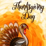 Lyckligt kort för tacksägelsedaghälsning med den abstrakta kalkon vektor illustrationer