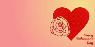 Lyckligt kort för valentindaghälsning eller horisontalbaner En hjärta och ett härligt steg, snidit från en rosa guld- lutning av  stock illustrationer