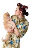 lyckligt kvinnabarn för katt fotografering för bildbyråer