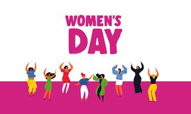 Lyckligt kvinnors dagkort med olik kvinnadans stock illustrationer