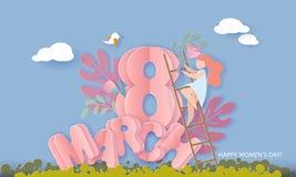 Lyckligt 8 kvinnors för mars kort för snitt för papper för dag royaltyfri illustrationer