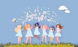 Lyckligt 8 kvinnors för mars kort för snitt för papper för dag vektor illustrationer