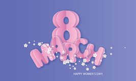 Lyckligt kvinnors kort för dag8 mars i purpurfärgade färger stock illustrationer
