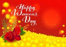 Lyckligt kvinnors kort för daghälsning Blommor röd ros- och gulingmimosa handskriven text Royaltyfria Bilder