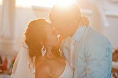 lyckligt kyssande bröllop för brudbrudgum Royaltyfri Bild