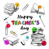 Lyckligt läraredagbaner 1 stock illustrationer