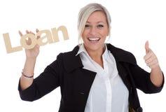 lyckligt lånbarn för härlig affärskvinna Arkivfoton