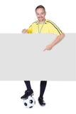 Lyckligt lagledareinnehavplakat och fotboll Arkivbild