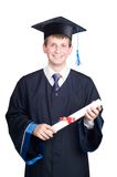 lyckligt le för doktorand- grabb Arkivfoto