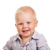 lyckligt le för pojke kalla isolerat barn för manståendewhite Royaltyfri Foto