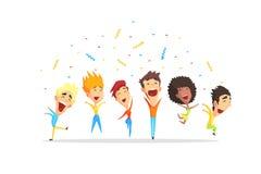 Lyckligt le folk som har gyckel, unga män och kvinnor som hoppar tecknad filmvektorillustrationen vektor illustrationer