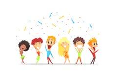 Lyckligt le folk, unga män och kvinnor som har gyckel på illustrationen för partitecknad filmvektor stock illustrationer
