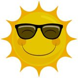 Lyckligt le soltecken med solglasögon Stock Illustrationer