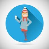 Lyckligt le tecken för GeekHipsterflicka med stock illustrationer