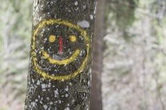 Lyckligt leende på trädstammen Royaltyfri Fotografi