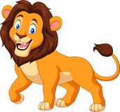 Lyckligt lejon för tecknad film som isoleras på vit bakgrund vektor illustrationer
