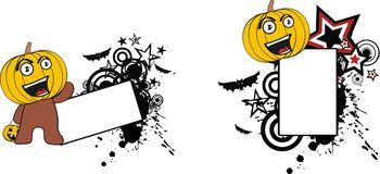 Lyckligt litet för halloween för pumpaungetecknad film utrymme kopia royaltyfri illustrationer