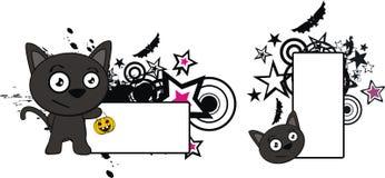 Lyckligt litet för tecknad filmhalloween för svart katt utrymme kopia royaltyfri illustrationer