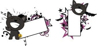 Lyckligt litet för tecknad filmhalloween för svart katt utrymme kopia vektor illustrationer