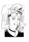 Lyckligt ljust synat Rocket Woman With Long Wavey hår arkivbild