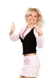 lyckligt lyckat för affärskvinna royaltyfri fotografi