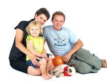 lyckligt möte för familj Arkivfoton