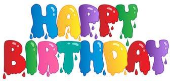 lyckligt målat tecken för födelsedag stock illustrationer