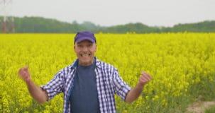 Lyckligt manligt fält för bondeCelebrating Success At rapsfrö stock video