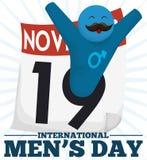 Lyckligt manligt symbol med mustaschen som firar den internationella dagen för man` s, vektorillustration Arkivbild