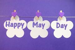 Lyckligt May daghälsningmeddelandet som är skriftligt över kort för vit blomma med pinnor för purpurfärgad hjärta som hänger från  Royaltyfri Bild