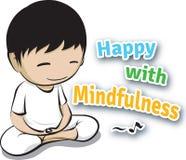 Lyckligt med Mindfulness vektor illustrationer