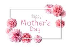 Lyckligt meddelande för dag för moder` s i den vita ramen med den rosa nejlikan fl arkivbilder