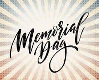 Lyckligt Memorial Day kort Nationell amerikansk ferie Festlig affisch eller baner med handbokstäver också vektor för coreldrawill vektor illustrationer