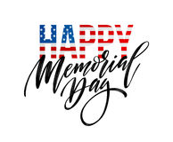 Lyckligt Memorial Day kort Nationell amerikansk ferie Festlig affisch eller baner med handbokstäver också vektor för coreldrawill stock illustrationer