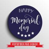 Lyckligt Memorial Day kort Nationell amerikansk ferie Handbokstäver också vektor för coreldrawillustration royaltyfri illustrationer