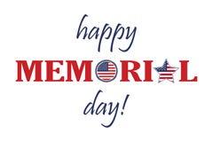 Lyckligt Memorial Day kort Nationell amerikansk ferieillustration med USA flaggan Festlig affisch eller baner med handbokstäver royaltyfri illustrationer