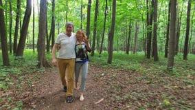 Lyckligt mogna par som går på slinga arkivfilmer