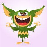 lyckligt monster för tecknad film Vektorillustration av det gröna monstret Allhelgonaaftondesign vektor illustrationer