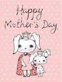 Lyckligt mors dagkort royaltyfri illustrationer