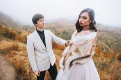 Lyckligt nyligen gift par i bergen royaltyfri foto