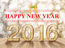 Lyckligt nytt år 2016 år wood nummer i perspektivrum med sp Royaltyfri Bild