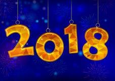 Lyckligt nytt år 2018 önskar design för bakgrund för mall för hälsningkort Royaltyfria Bilder