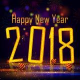 Lyckligt nytt år 2018 önskar design för bakgrund för mall för hälsningkort Royaltyfri Foto