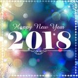 Lyckligt nytt år 2018 önskar design för bakgrund för mall för hälsningkort Arkivfoto