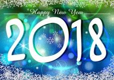 Lyckligt nytt år 2018 önskar design för bakgrund för mall för hälsningkort Arkivfoton