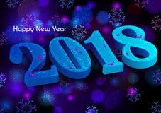 Lyckligt nytt år 2018 önskar design för bakgrund för mall för hälsningkort Royaltyfri Bild