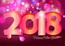Lyckligt nytt år 2018 önskar design för bakgrund för mall för hälsningkort Fotografering för Bildbyråer